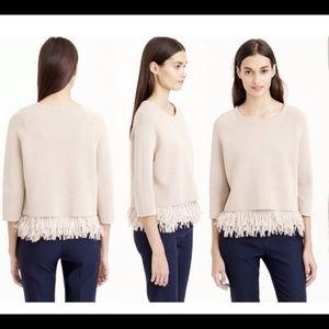 J Crew Collection Chiffon Fringe Sweater Beige s
